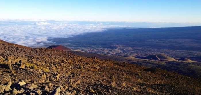 Passing the clouds on the way up Mauna Kea
