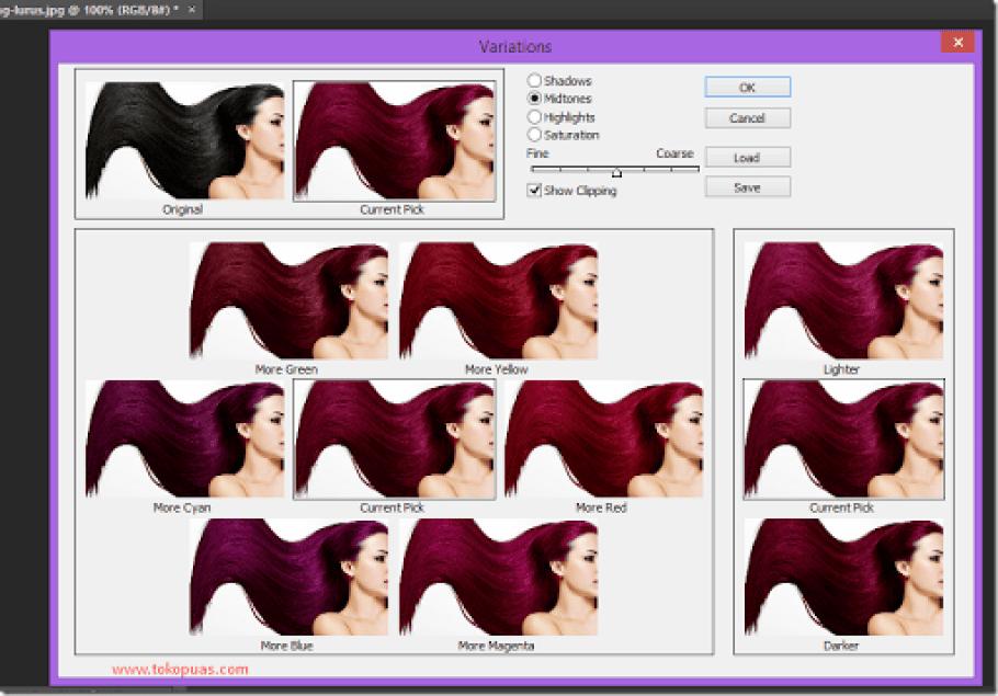 cara merubah cepat warna rambut photoshop
