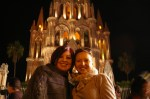 Agnieszka and Estefania in front of Parroquia after Fernando de la Mora's concert in San Miguel de Allende, Mexico.