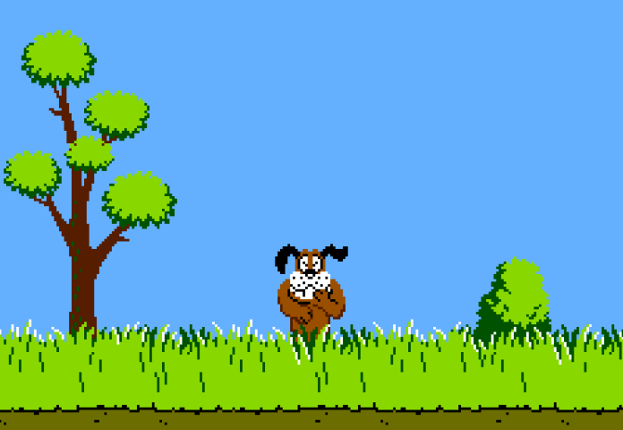 Cachorro de Duck Hunt rindo