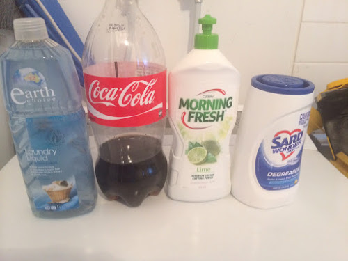 Earth Choice laundry liquid, Coke, Morning Fresh dishwashing liquid, Sard degreaser