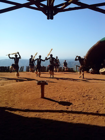 zulu dancers at phezulu safari park in durban, south africa