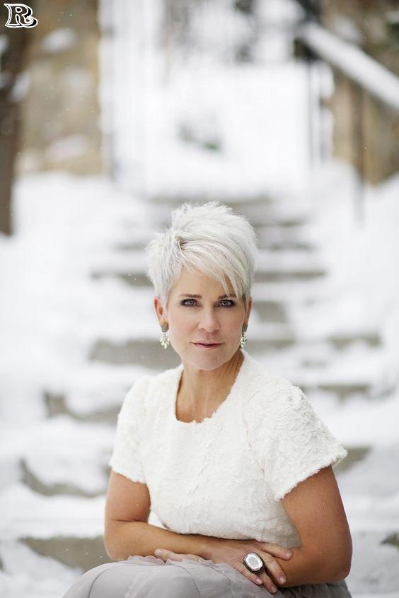 white pixie haircut older women
