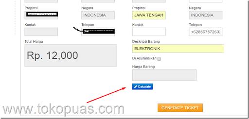 calculate jne online booking