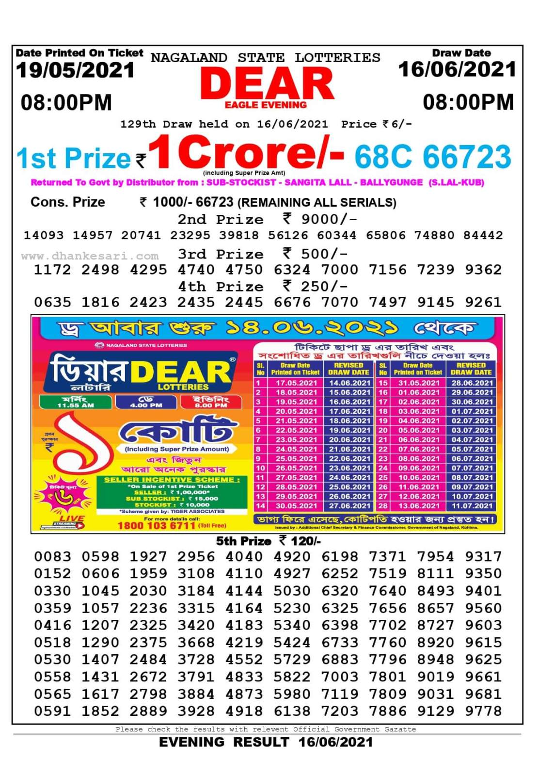 Nagaland State Lottery Result Today 8:00 PM 16.6.2021