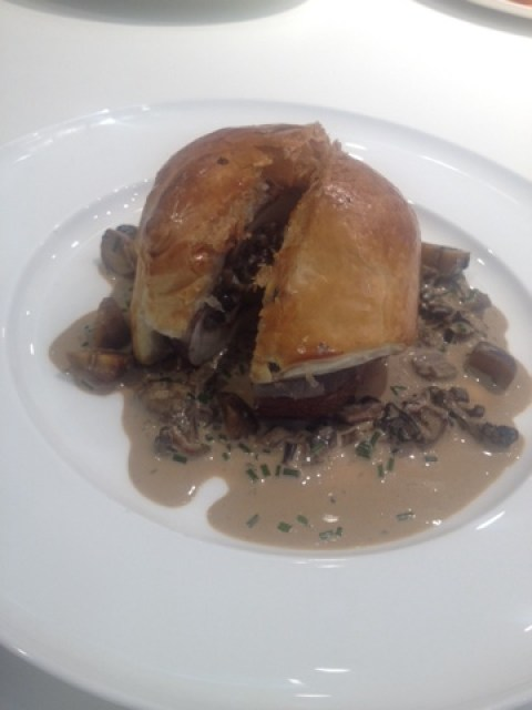 Mushroom Wellington with chestnuts and lentils