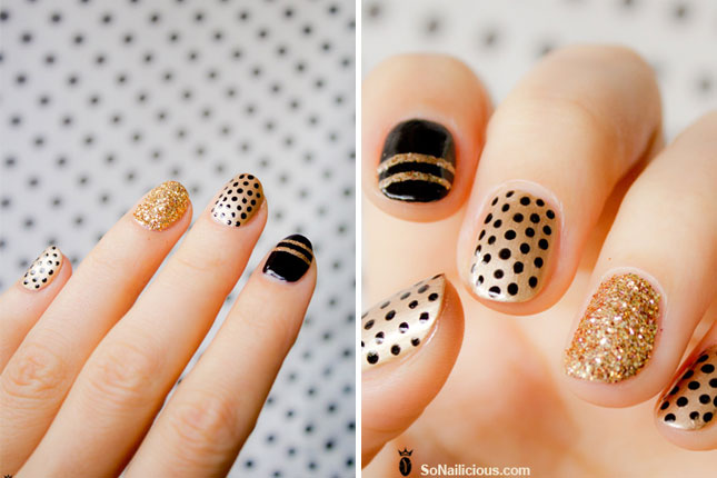 ATTRACTIVE SOPHISTICATED BLACK AND GOLD NAILS-NAIL STYLES 3