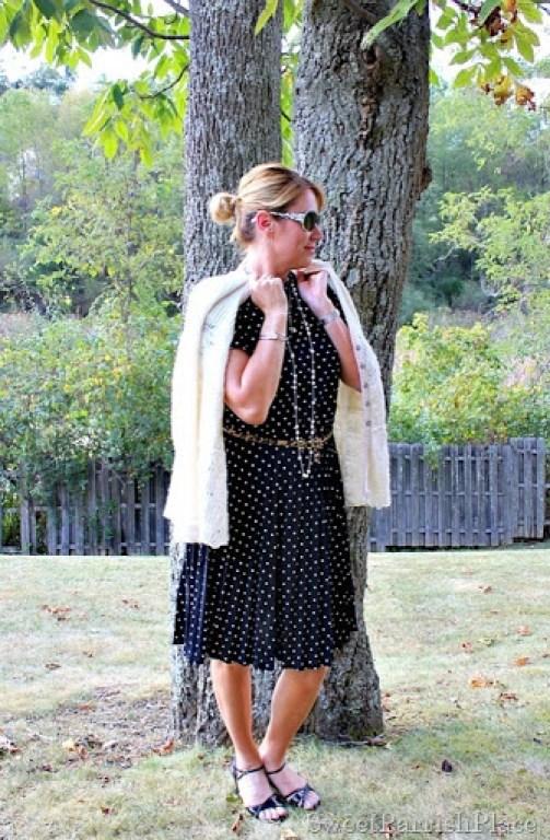 vintage-polka-dot-dress-leopard-belt-black-sandals2