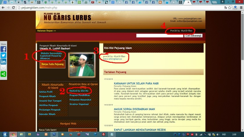 Website Pejuang Islam yang dibobol