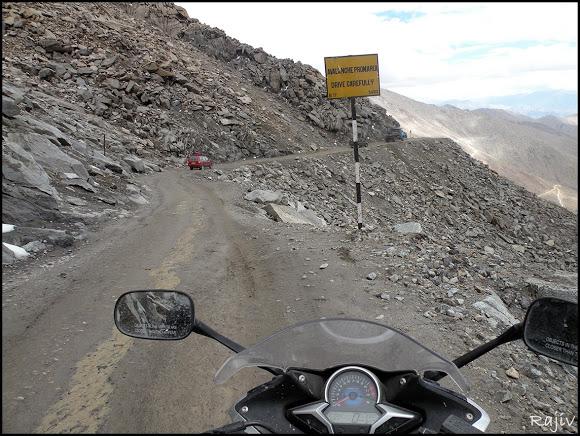 Honda CBR 250 in Ladakh in an avalanche prone stretch