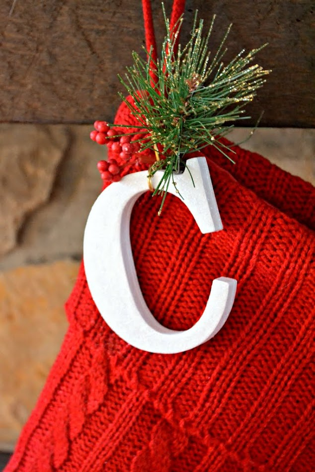 diy christmas stocking initials with hook