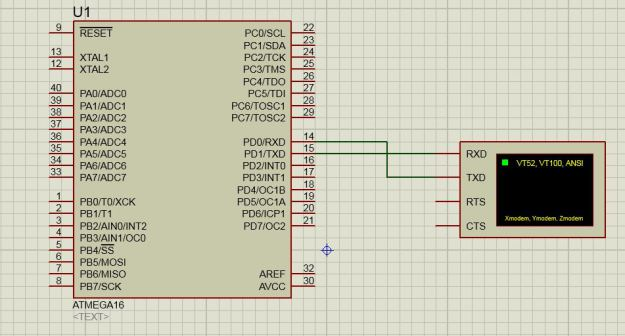 Serial Communication of ATmega in Proteus