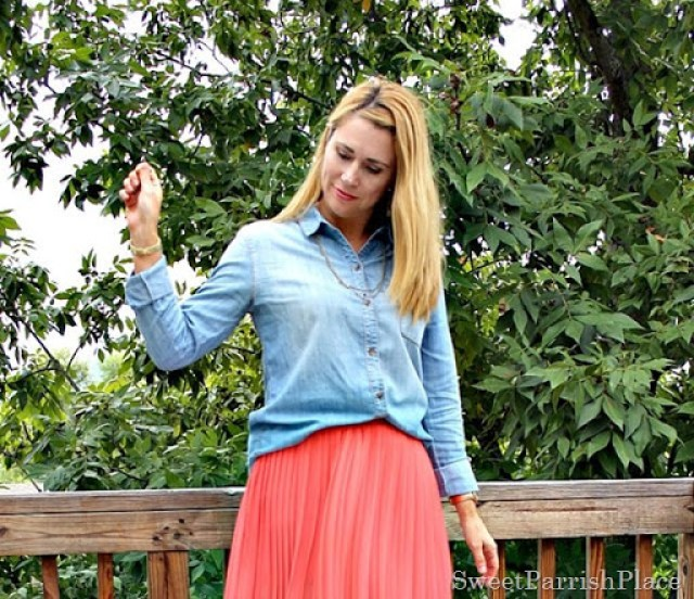coral-pleated-skirt-chambray-shirt1