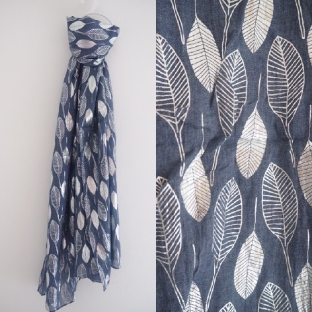 Denim blue scarf with silver leaves