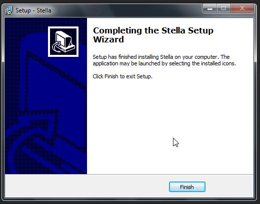 Clique em Finish para terminar a instalação do Stella