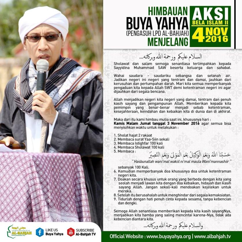 Himbauan Buya Yahya Menjelang Demo Aksi Bela Islam II 4 November 2016. Foto: Buyayahya.org.