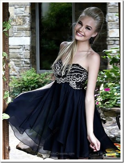 Short Empire Sweetheart Black Prom Dress