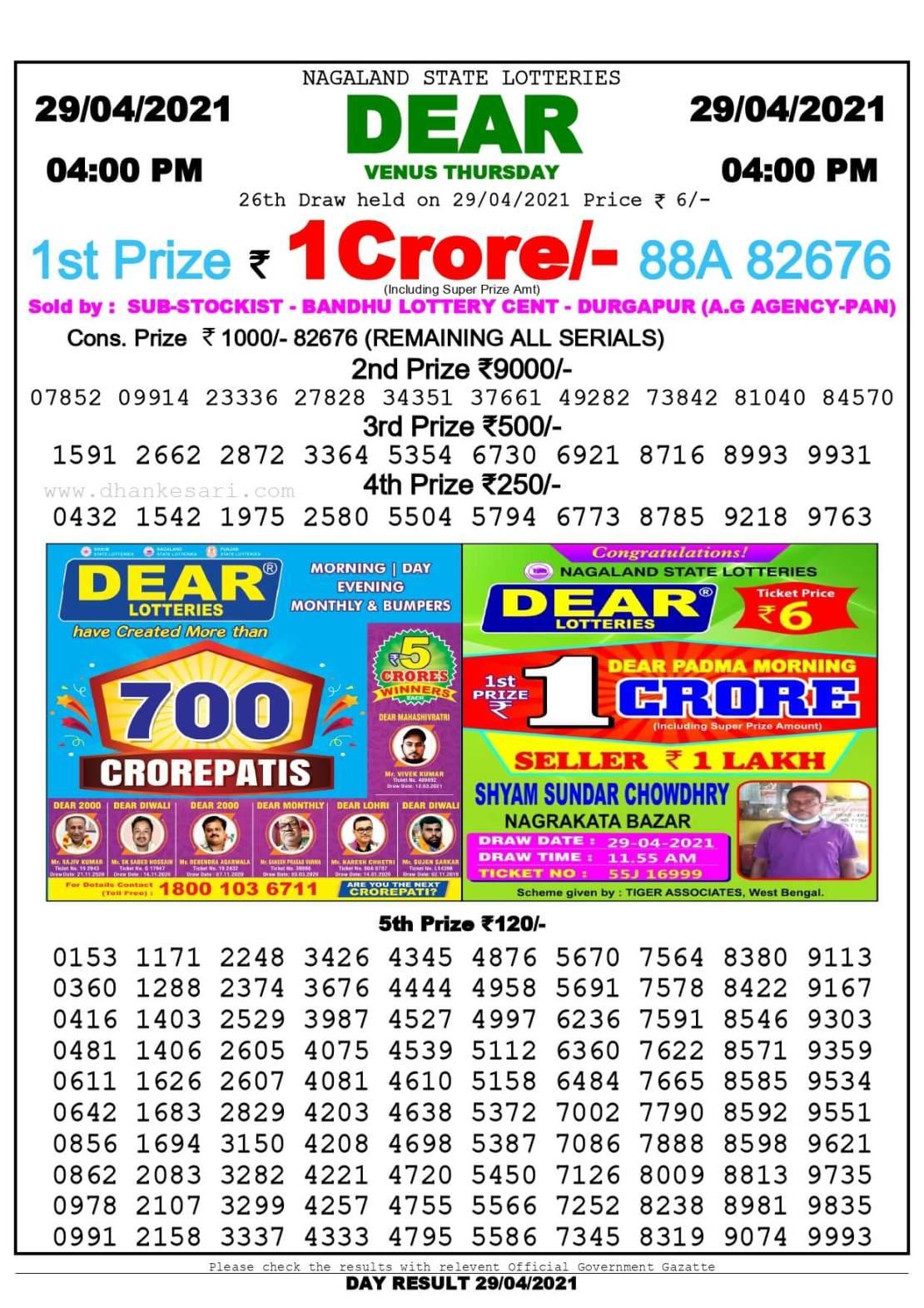 Dhankesari Lottery Sambad Result Today 4:00 PM 29.4.2021