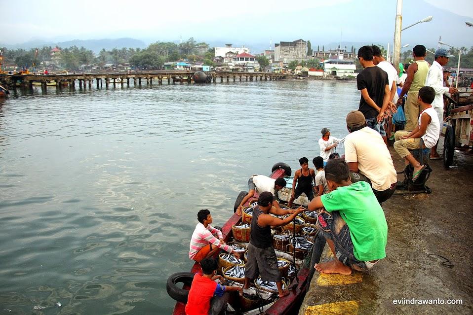 Menaikan ikan hasil melaut di dermaga kotaagung Tanggamus