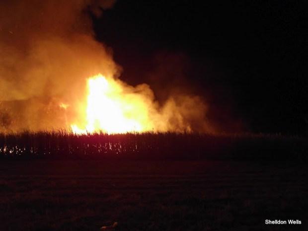 A Sugar Cane Field Burning