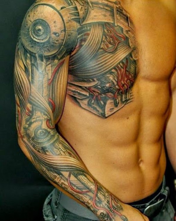 biomechanical tattoos for men Chest