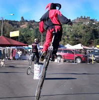 unicyclist at Rose Bowl Flea Market (10/14/2012)