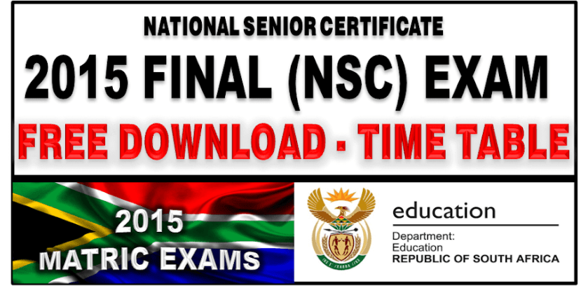 2015 Final Exam Time Table