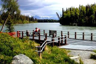 Bings Landing accessible fishing platform in use