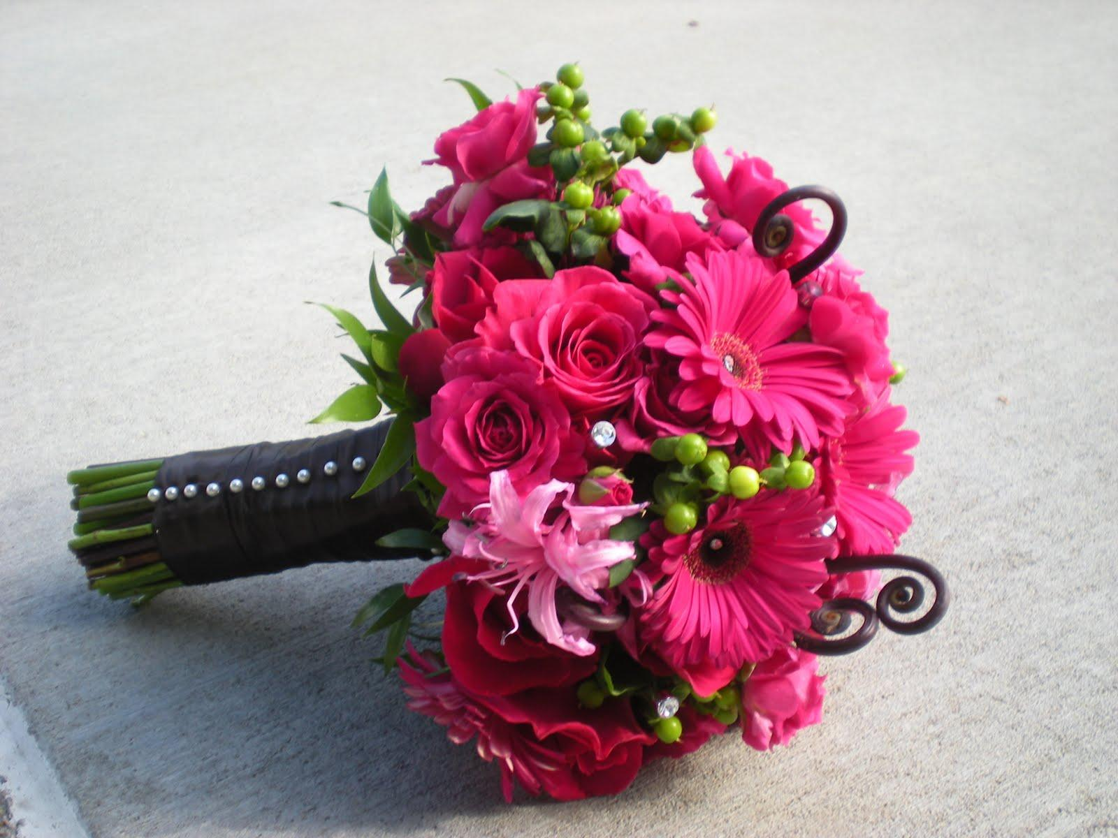 Saman's Blog: Silk Wedding Bouquets Hot Pink