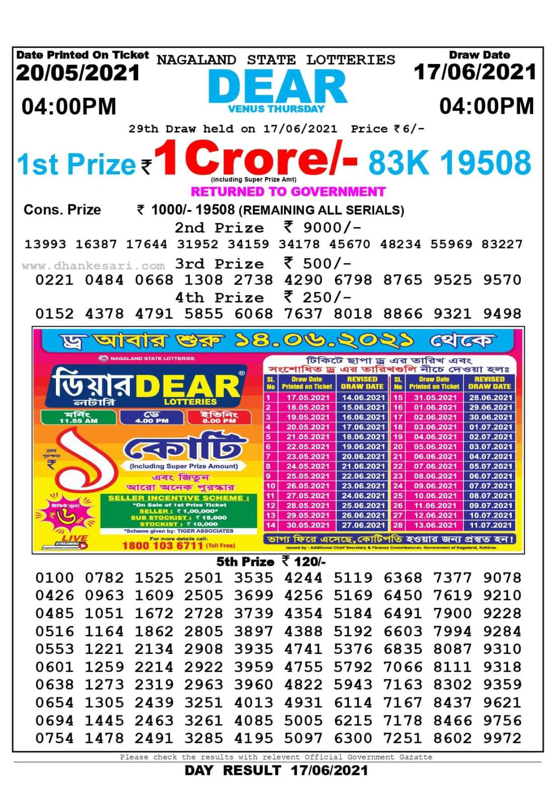 Nagaland State Lottery Result Today 4:00 PM 17.6.2021