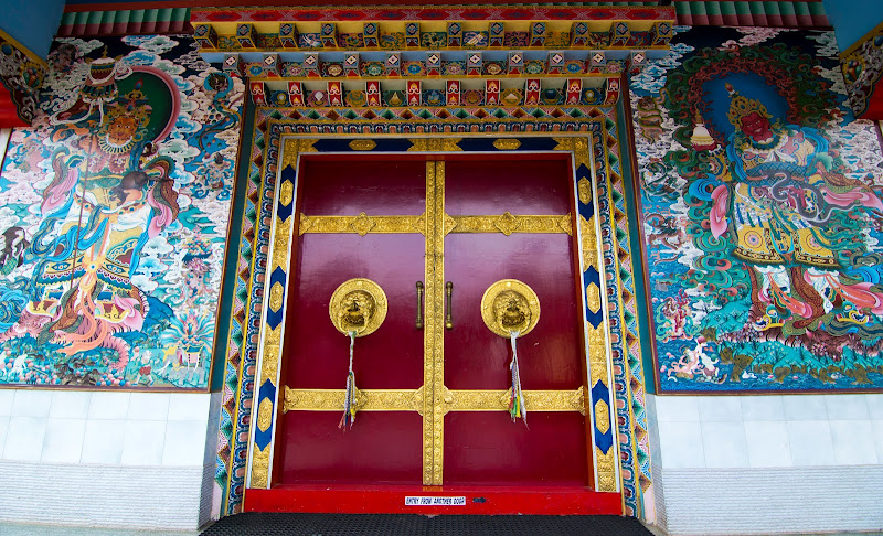 Colorful Monastery door, Golden Temple - Bylakuppe