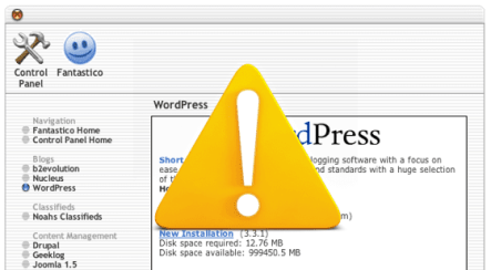5 razones para NO instalar WordPress a través de Fantastico
