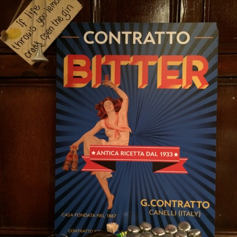 Contratto Bitters poster at the Oliver Conquest - Copperhead gin tasting