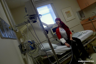 They take her first vital signs.