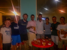 Enjoying some beers with our Albanian friends. Thanks guys!