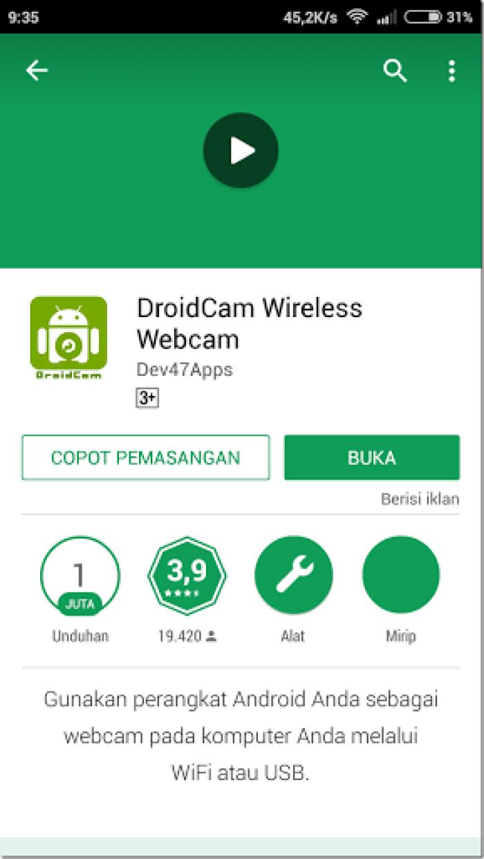 tutorial menggunakan hp android sebagai webcam