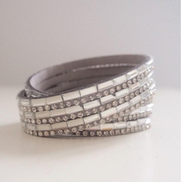 Grey suedette sparkly wrap bracelet with rectangular baguette diamantes