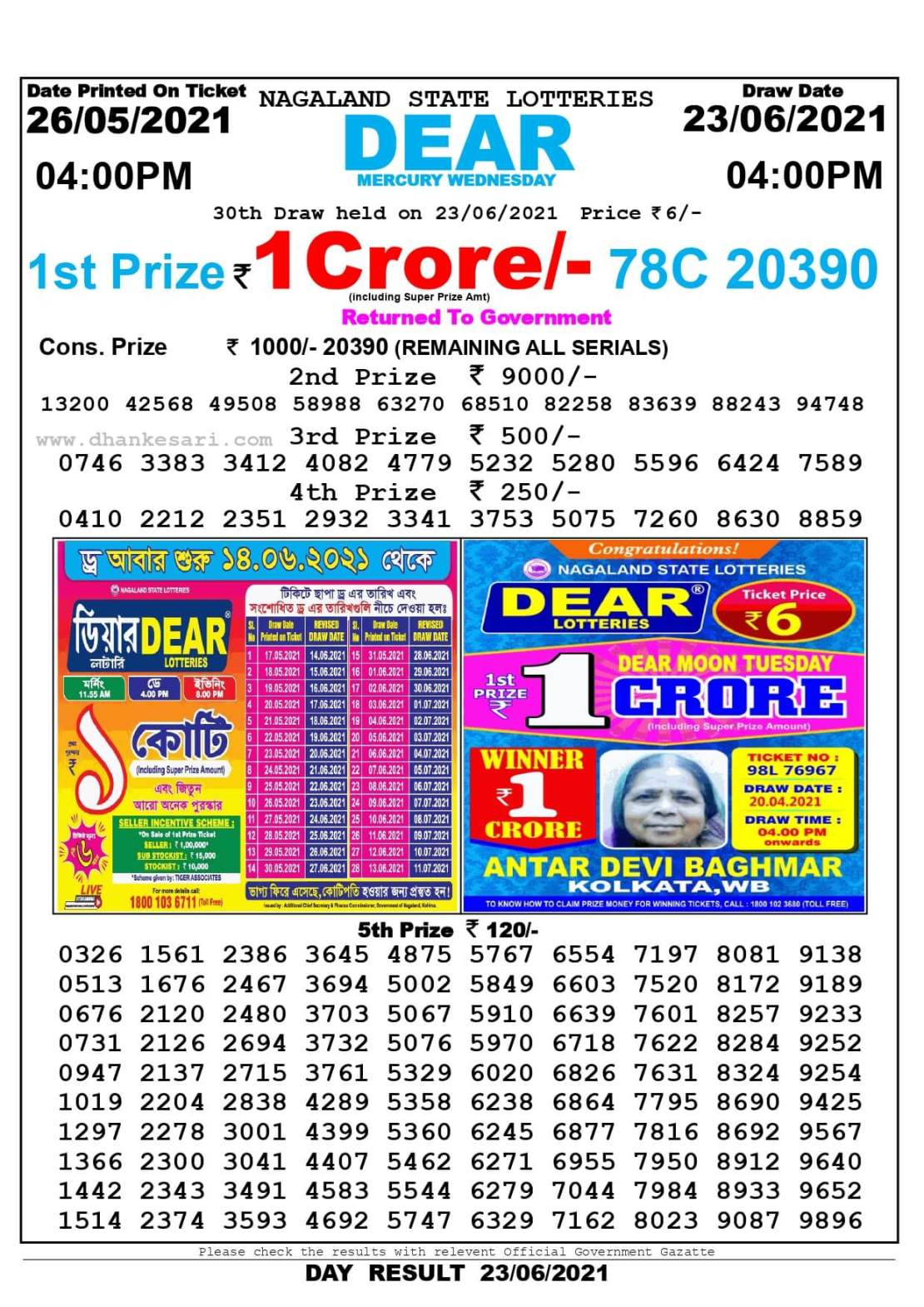 Nagaland State Lottery Result Today 4:00 PM 23.6.2021