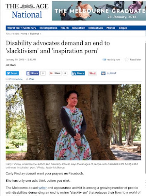 (Image: The Age newspaper screenshot, Carly Findlay in a blue and pink floral dress (thanks St Frock!), standing under a tree. Not smiling. They said it was too serious an article to smile!)