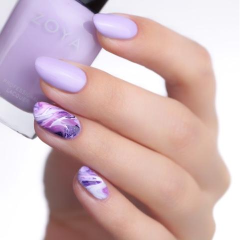 Zoya Marble Nails Purple Amethyst