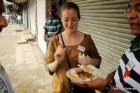Eating chaat in Old Delhi http://indiafoodtour.com  http://foodtourindelhi.com