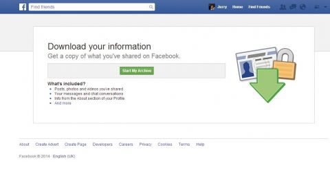 How to  backup your facebook data 1
