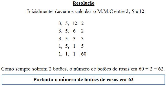Resolução de exercícios de MMC