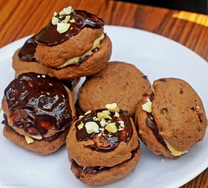 Eggless Chocolate Whoopie Pies with Caramel Buttercream Recipe written by Kavitha Ramaswamy of Foodomania.com