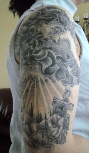 heaven god Cloud tattoos with birds and angel
