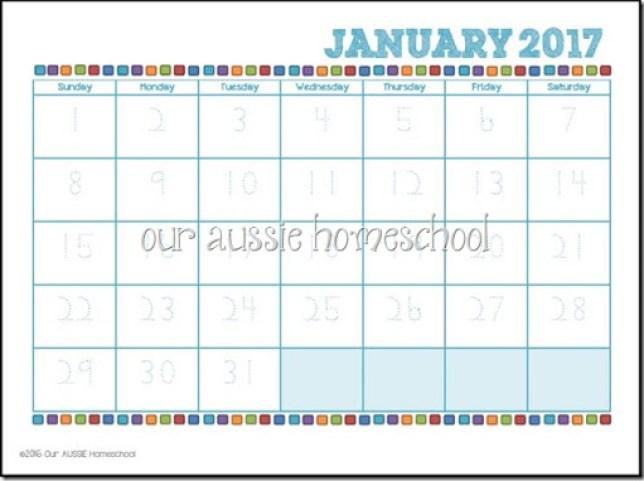 Manuscript Calendar Printable - Our Aussie Homeschool