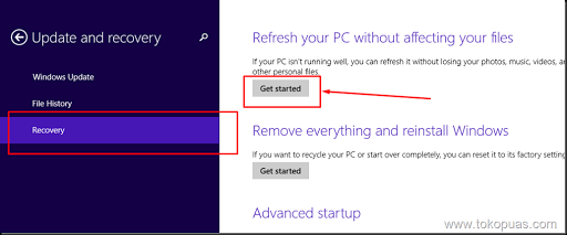 setting windows 8.1 kembali ke pengaturan awal cepat