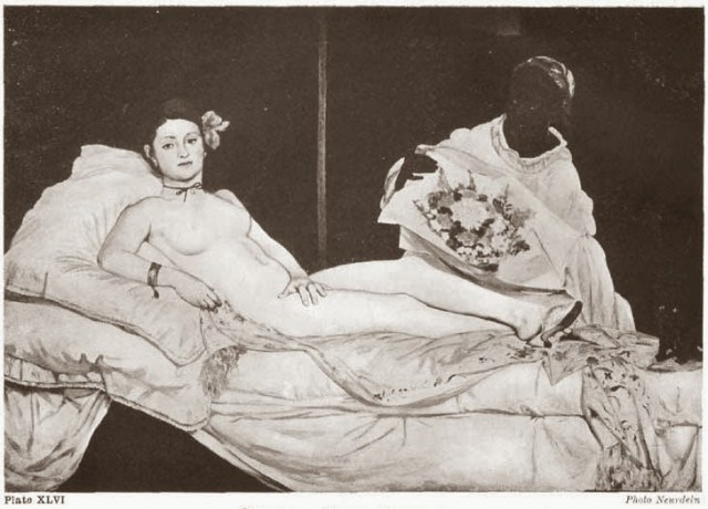 """Plate XLVI. OLYMPIA. MANET (Louvre) A further development of the composition formula illustrated by Correggio's """"Venus"""". Added force is given by lighting with low direct light elimination half-tones. Photo Neurdein"""