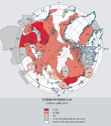 Figure 2. Provinces in the Circum-Arctic Resource Appraisal (CARA) color-coded for mean estimated undiscovered gas. Only areas north of the Arctic Circle are included in the estimates. Province labels are the same as in Table 1. Source: USGS.