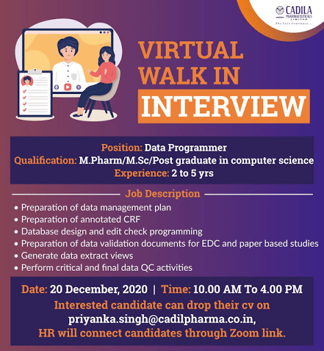 Cadila Pharmaceuticals Limited Virtual WalkIns for CRA Biostatistician Clinical Data Management on 20th Dec 2020 Apply Now